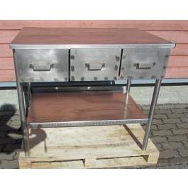 Töölaud L1000 sahtlitega, roostevaba, kasutatud